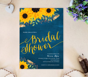 Sunflower bridal shower cards