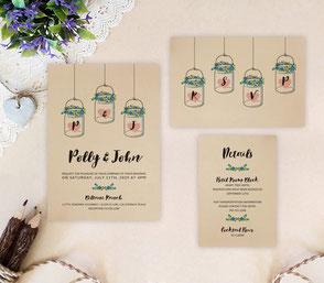 Mason jar themed wedding invitations