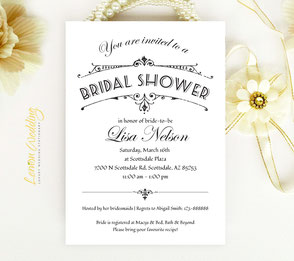 Elegant Bridal Shower Invitations black and white