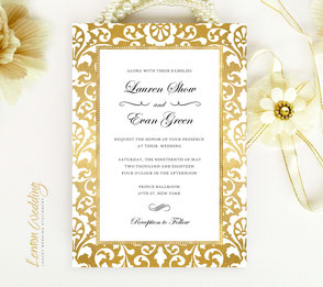 gold frame wedding invitations