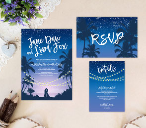 Night beach wedding invitation sets