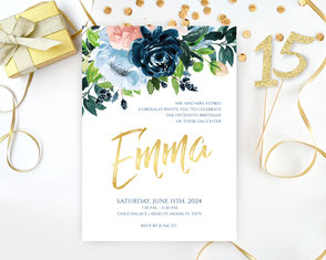 Navy and Gold Quinceanera Invitations