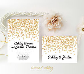 Gold confetti elegant wedding invitations with RSVP