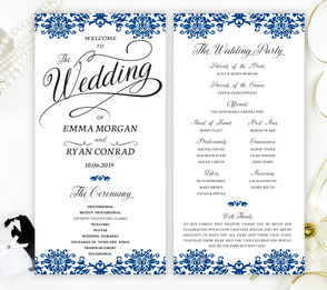 Royal Blue Wedding Ceremony Programs