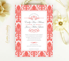 red and white invitations