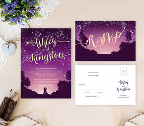 gold and purple wedding invitations with RSVP postcards
