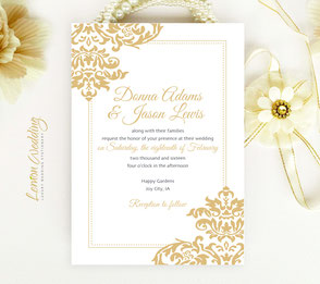 Golden invitations | Damask themed