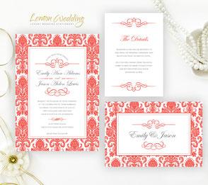 Red wedding invitation sets