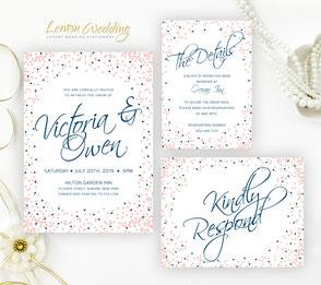 Navy and blush wedding invitations