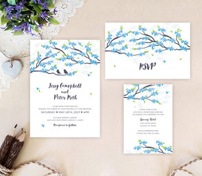 Spring wedding invitation packs