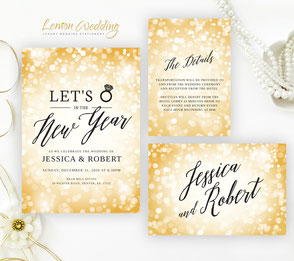 New Year's Eve wedding invitation + RSVP + details crd