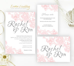 Pink wedding invitations sets