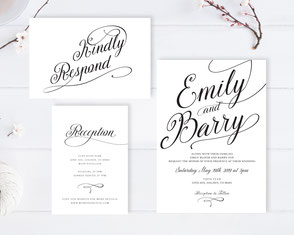 Formal wedding invitations with RSVP and Info cards