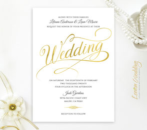 wedding invitations with gold calligraphy