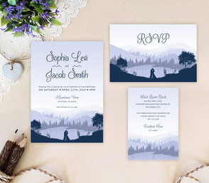 Montain wedding invitation sets
