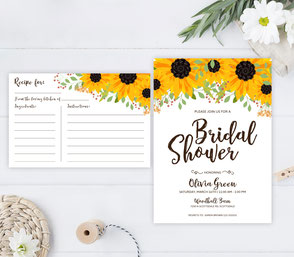 Bridal shower invitation and recipe card