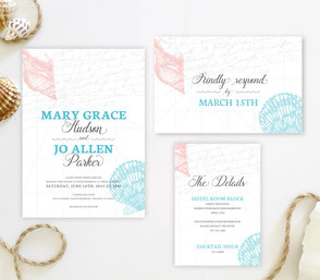 Seashell nautical wedding invitations