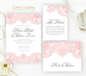 Coral wedding invitations with lace