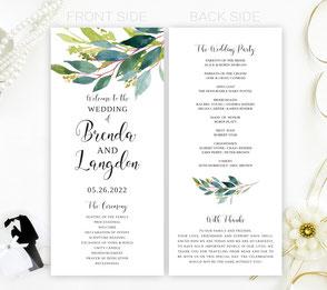 Greenery Wedding Programs
