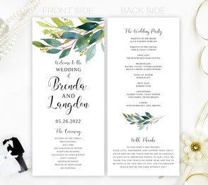 Greenery Wedding Ceremony Programs