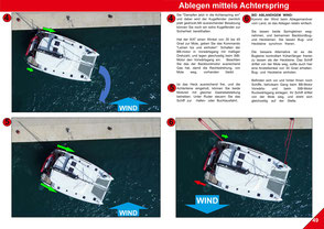 Top view, Catamaran Skipper Training book, Catamaran Docking Training, Catamaran Lagoon 42, Catamaran Maneuer Training, Catamaran Skipper Training, Catamaran Harbor Maneuver Training, Spring leash undocking, Catamaran Docking Training, Nautical Miles