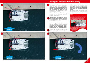 Catamaran Skipper Training book, Catamaran Docking Training, Catamaran Lagoon 42, Catamaran Maneuer Training, Catamaran Skipper Training, Catamaran Harbor Maneuver Training, Spring leash undocking, Catamaran Docking Training, Nautical Miles, undocking