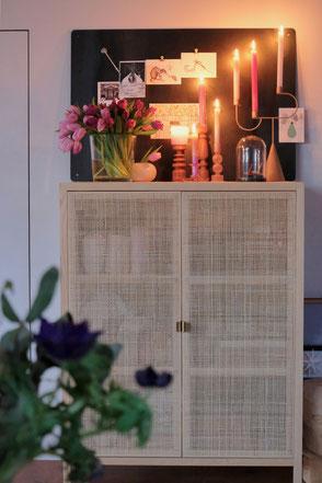dieartigeBLOG - Rattan-Schrank + Kerzen, highboard + candles