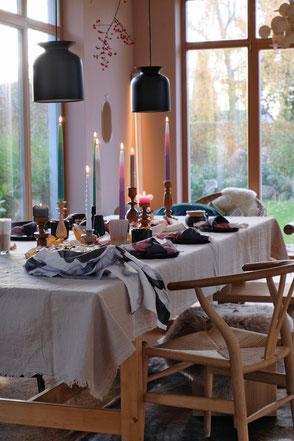 dieartigeBLOG - Leinentischdecke+Kerzen, Essbereich / dining area, autumn