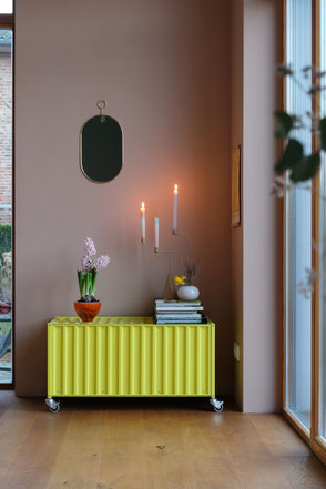 dieartigeBLOG - Leseecke + Sideboard, Schwefelgelb, Wandfarbe Dusty Peach