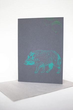 dieartigeBLOG - Klappkarten Edition TIERE DES WALDES, Das Januar-Wildschwein