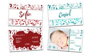 """Geboortekaartje """"Sofie of Emiel"""""""