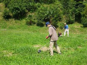 初めて草刈機を使って草を刈る伊藤(正)さん