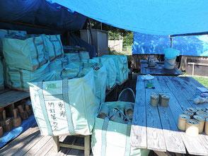 竹灯篭を整備し袋に収めました