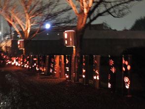 夜、彫竹灯篭に点灯しました!