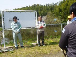 保全育成の会代表として挨拶する木村会長(右)