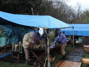 竹を3本組に縛る作業風景