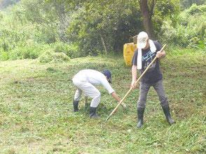 草刈りに汗を流す山田さん(右)、山口さん