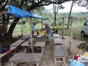 森のカフェの休憩準備、越間さんの故郷饅頭です!