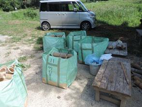 3本組竹灯篭が5袋完了です!
