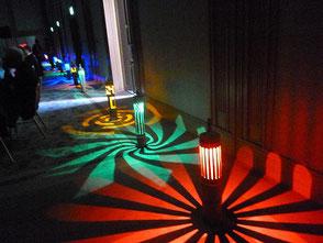 会場に展示したLED竹灯篭