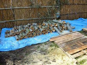 少しずつ竹灯篭の制作が進みます!