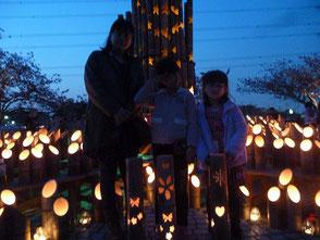 親子竹灯篭教室に参加して作った竹灯篭です