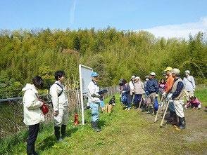 竹の子掘りの開会式です!参加者約50名