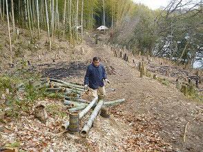 黙々と竹の整理をする木村会長