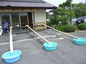 山田さん制作の流しソーメンが居場所作りで活躍