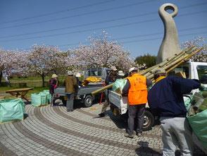 星の竹40本など再開広場へ器材を運びます