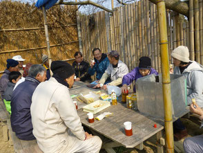 森のカフェで休憩ブンタン、手作り鬼饅頭の差入れ!