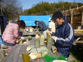 3本組の竹灯篭作り(後40cm×1、前30cm×2)