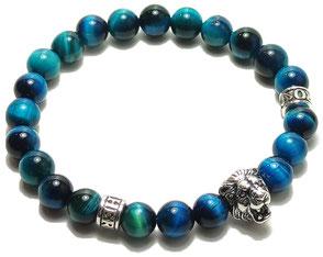 BEHERO Herren - Armband Lion (blauer Jaspis)