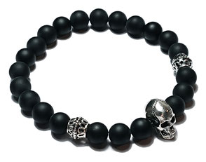 BEHERO Designer Armband Skull (Onyx matt)